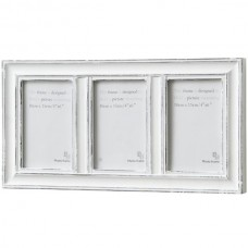 Antique  White  3  Way  Photo  Frame