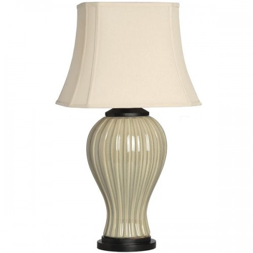 Cream  Ceramic  Table  Lamp  With  Wooden  Base