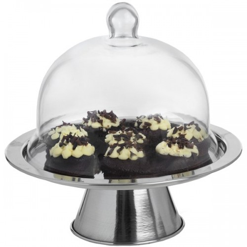 Silver  Metal  Cake  Stand  With  Glass  Cloche