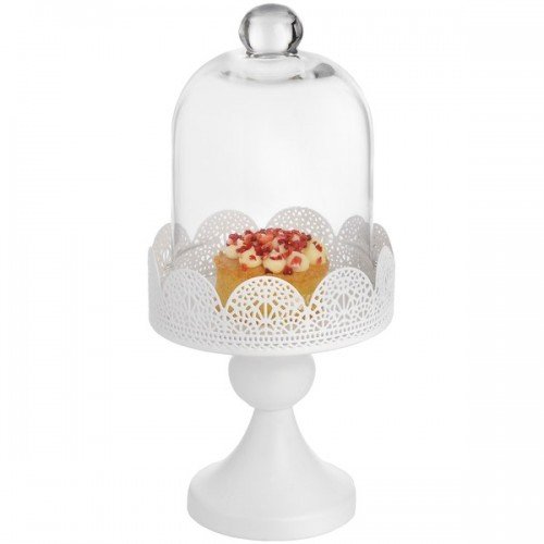 Antique  Cream  Floral  Cupcake  Stand  With  Glass  Cloche