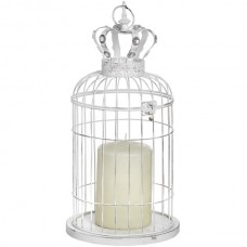 White  Metal  Birdcage  With  Crown