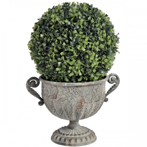Ornate  Antique  Metal  Urn  Planter  With  Handles