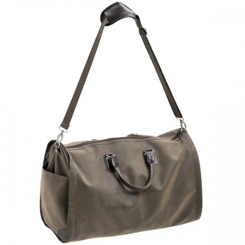 Mock  Nubuck  Weekend  Holdall  W/  Fold-out  Suit  Carrier  (dark)