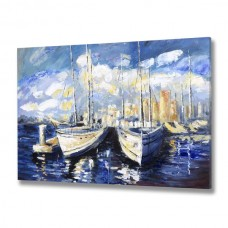 Blue  Sky  Boat  Handpainted  Canvas