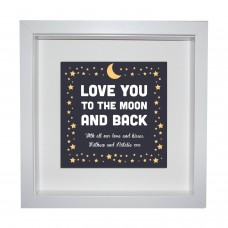 Box Frame Metal Artwork - Moon and Back