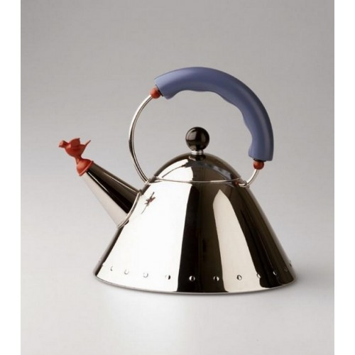 Alessi 'Bird' Stove Top Kettle Blue Handle 9093FM